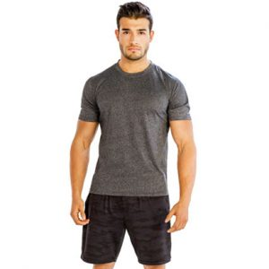 Gray Tee with Self-patterned Dark Grey Shorts Wholesale