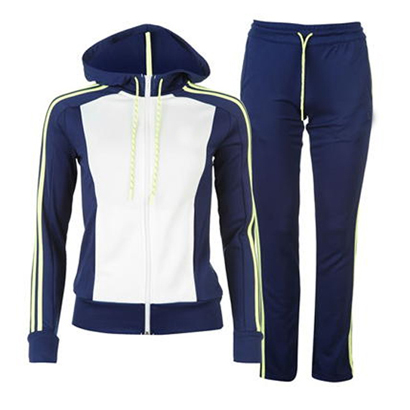 Navy Blue and White Sports Tracksuit Wholesale
