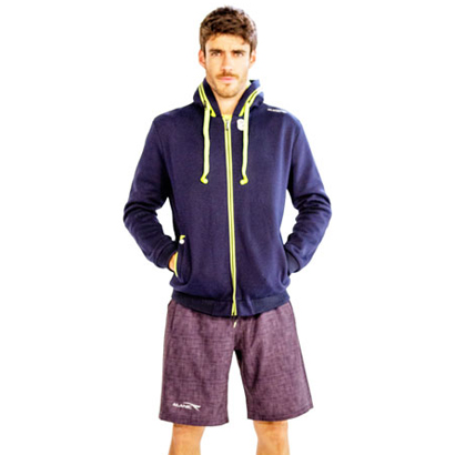 Blue and Lime Green Jacket with Purple Self-patterned Shorts