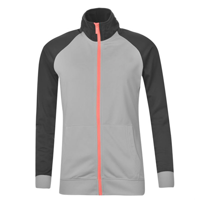 Pure Black and Grey Sports Tracksuit Top Wholesale