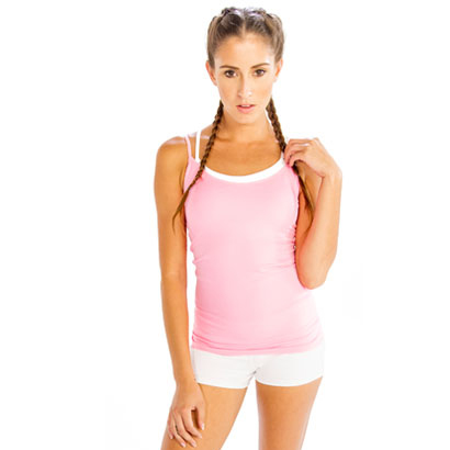 Powdered Pink Camisole with Trendy White Shorts Wholesale