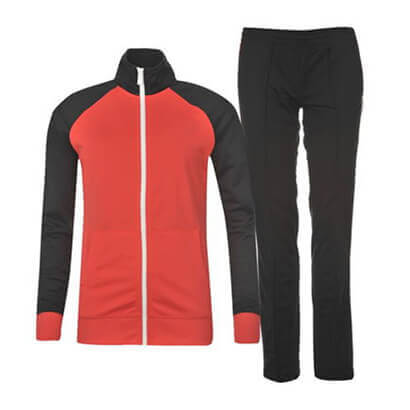 Wholesale Black and Neon Orange Sports Tracksuit