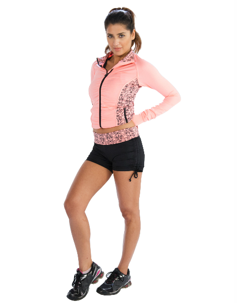 Baby Pink Printed Jacket And Black Printed Shorts Wholesale