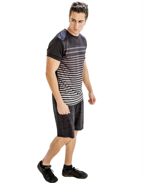 Black And White Half Sleeve Tee With Self-patterned Black Shorts