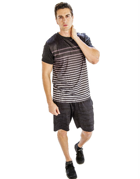 Black And White Half Sleeve Tee With Self-patterned Black Shorts Wholesale
