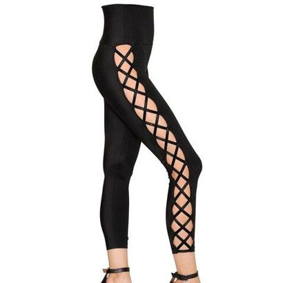 Wholesale Black Lace Fitness Effect Pants
