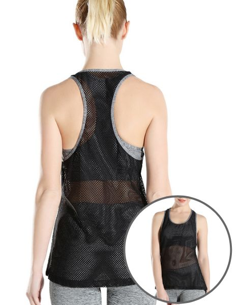 Wholesale Black Mesh Fitness Tank Top Manufacturers UK