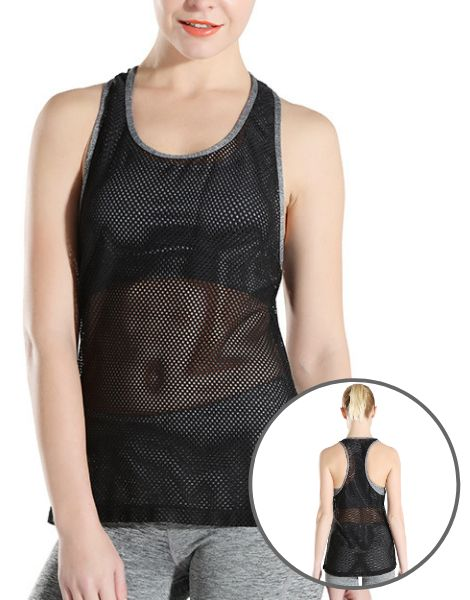 Wholesale Black Mesh Fitness Tank Top Manufacturers