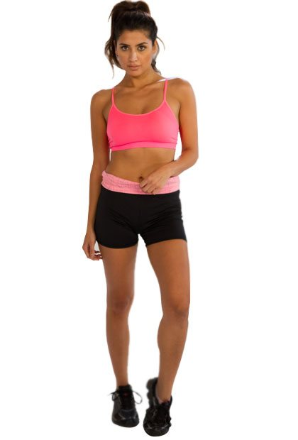 Bright Pink Sports Noodle-strap Bra with Black Shorts Wholesale