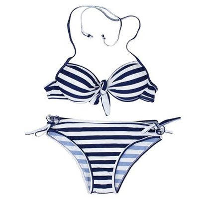 Blue and White Abstract Swimsuit Wholesale