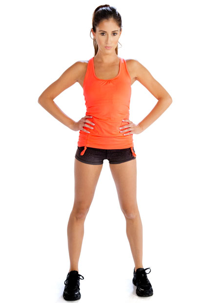 Bright Orange Tank Top and Black Shorts Wholesale