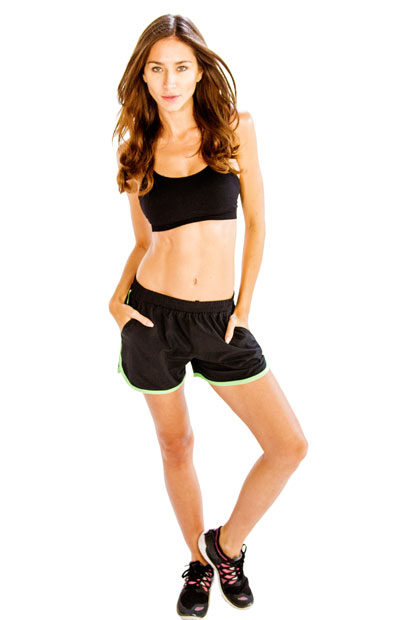 Black Sports Bra With Black and Neon Green Shorts Wholesale