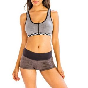 Gray and White-black Box Pattered Sports Bra with Trendy Shorts Wholesale