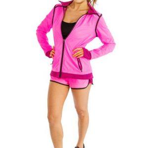 Bright Pink and Black Yoga Jacket and Shorts Set Wholesale