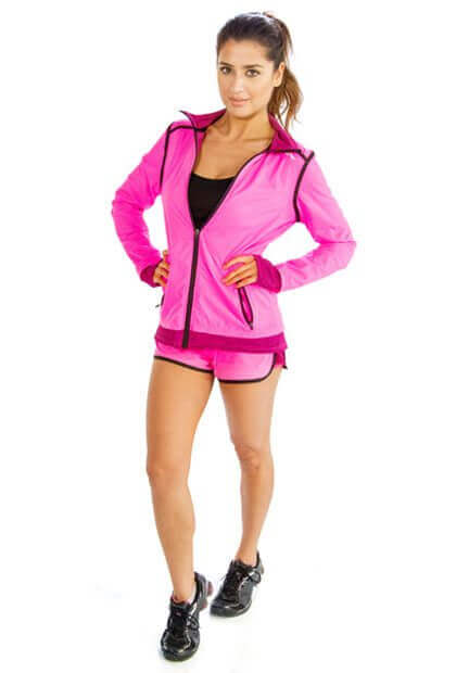 Bright Pink and Black Yoga Jacket and Shorts Set Wholesale
