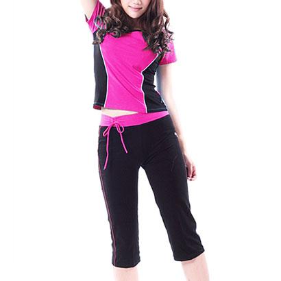 Contouring Glossed Yoga Clothing Set Wholesale