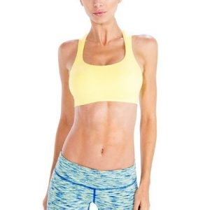 Lime Yellow Sports Bra with Sky-Blue Patterned Tights Wholesale