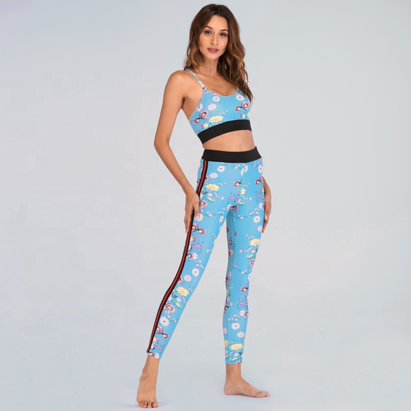 Wholesale Blue Floral Printed Quick Dry Athletic Clothing Sets