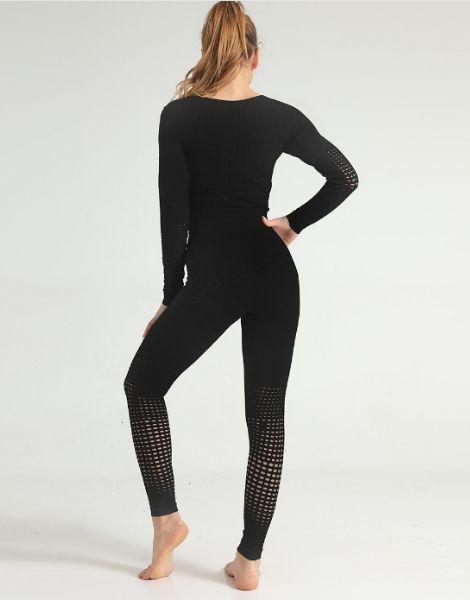 Black Tie-dye Print Women Fitness Sets