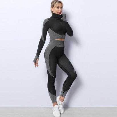 long sleeve grey and black active wear set for women manufacturer