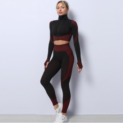 bulk long sleeve red and black-active-wear set for women