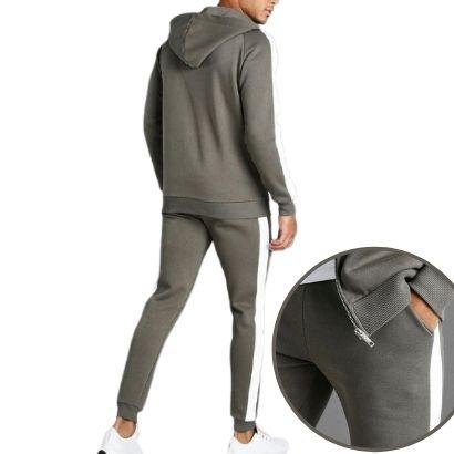 bulk sportswear fitness apparel-cotton khaki man muscle fit hooded detail tracksuit manufacturer